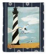 Cape Hatteras Lighthouse - Ship Wheel Border Fleece Blanket