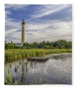 Cape May Lighthouse From The Pond Fleece Blanket