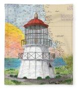 Cape Mendocino Lighthouse Ca Nautical Chart Map Fleece Blanket