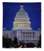 Capitol At Dusk Fleece Blanket