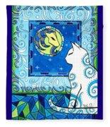 Capricorn Cat Zodiac Fleece Blanket