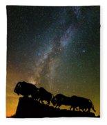 Caprock Canyon Bison Stars Fleece Blanket