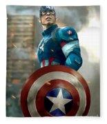 Captain America With Helmet Fleece Blanket