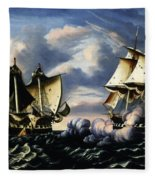 Capture Of H.b.m. Frigate Macedonian By U.s. Frigate United States, October 25, 1812  Fleece Blanket