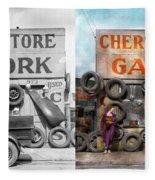 Car - Garage - Cherokee Parts Store - 1936 - Side By Side Fleece Blanket