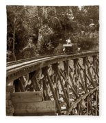Car On A Wooden Railroad Trestle Circa 1916 Fleece Blanket