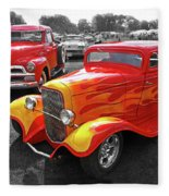 Car Show Fever - 54 Chevy With A 32 Ford Coupe Hot Rod Fleece Blanket