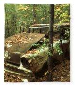 Car Wreck In The Forest Fleece Blanket