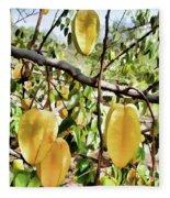 Carambola Fruit On The Tree Fleece Blanket