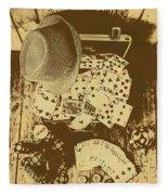 Card Games And Vintage Bets Fleece Blanket