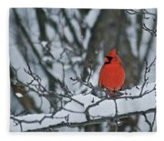 Cardinal And Snow Fleece Blanket