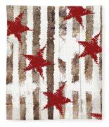 Cardinal Holiday Burlap Star Pattern Fleece Blanket
