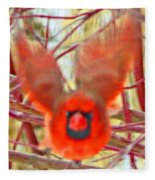 Cardinal In Flight Abstract Fleece Blanket