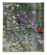 Cardinal In Flowering Tree Fleece Blanket