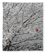 Cardinal In The Snow Fleece Blanket