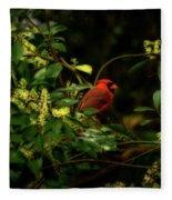 Cardinal In The Trees Fleece Blanket