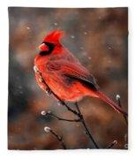Cardinal On A Snowy Day Fleece Blanket