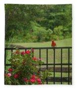 Cardinal On Fence Fleece Blanket