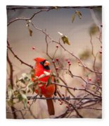 Cardinal With A Mouthful Of Hips Fleece Blanket