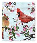 Cardinals And Apple Blossoms Fleece Blanket