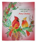 Cardinals Painted By Pat Napper  Fleece Blanket