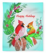 Cardinals Painted By Judith Brilhamte Fleece Blanket