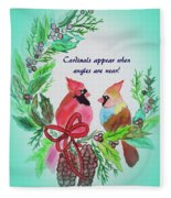 Cardinals Painted By Laurel Adams Fleece Blanket