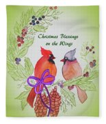 Cardinals Painted By Marcie Taylor  Fleece Blanket