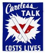 Careless Talk Costs Lives  Fleece Blanket