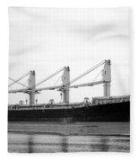 Cargo Ship On River Fleece Blanket