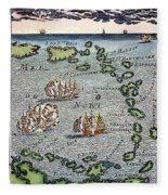 Caribbean Map Fleece Blanket