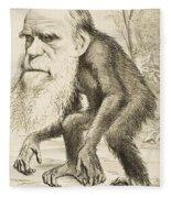 Caricature Of Charles Darwin Fleece Blanket