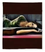 Carla Bruni With Guitar Fleece Blanket