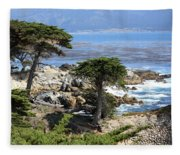 Carmel Seaside With Cypresses Fleece Blanket