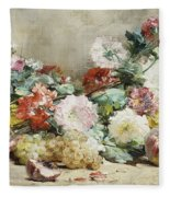 Carnations, Roses, Grapes And Peaches Fleece Blanket