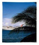 Carnival Docked At Grand Cayman Fleece Blanket