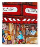 Carole Spandau Paints Montreal Memories - Montreal Landmarks - Schwartzs Hebrew Deli St. Laurent  Fleece Blanket