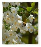 Carolina Silverbell And Bee Fleece Blanket