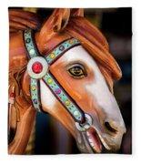 Carousal Horse Fleece Blanket