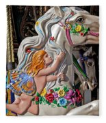 Carousel Horse And Angel Fleece Blanket