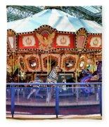 Carousel Inside The Mall Fleece Blanket