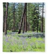 Carpet Of Lupine In Washington Forest Fleece Blanket