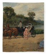 Carriage Ride By The River Fleece Blanket