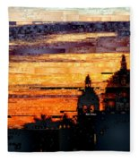 Cartagena Colombia Night Skyline Fleece Blanket