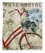 Carte Postale Vintage Bicycle Fleece Blanket