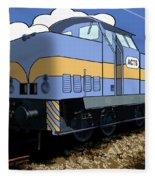 Illustrated Train Fleece Blanket