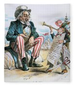 Cartoon: Uncle Sam, 1893 Fleece Blanket