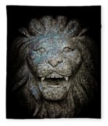 Carved Stone Lion's Head Fleece Blanket