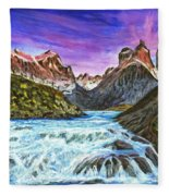 Cascades In Patagonia Painting Fleece Blanket