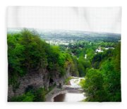 Cascadilla Gorge Cornell University Ithaca New York Panorama Fleece Blanket